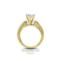 1ct G Si2 Round Natural Diamond 14ky Gold Vintage Solitaire Engagement Ring