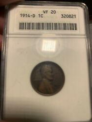 1914-d Lincoln Cent Anacs Vf 20. No Spots Dings Or Scratches. Nice Toning.