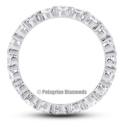 3ct F Si2 Round Earth Mined Certified Diamonds 18kw Gold Classic Eternity Ring