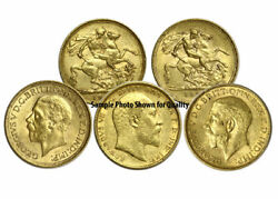 Lot Of 5 Pre-1933 Xf - Au British Gold King Sovereigns World Bullion Coins Uk