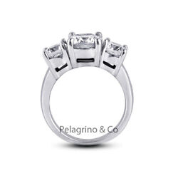 2.42ct G-si2 Round Natural Certified Diamonds 18kw Gold Classic Three-stone Ring