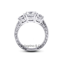 1.18ct D-vs2 Round Natural Diamonds 18kw Gold Vintage Style Three-stone Ring