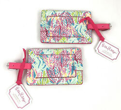 Two Lilly Pulitzer Luggage Tag Pair Letand039s Cha Cha Nwt Leatherette New With Tags
