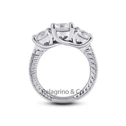 1.42ct G-si1 Round Natural Diamonds 14kw Gold Vintage Style Three-stone Ring