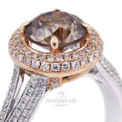 2ct Brown Si1 Round Earth Mined Certified Diamonds 18k Gold Halo Side-stone Ring