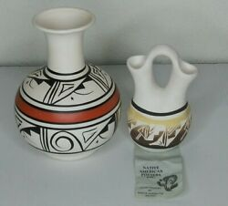 2 Native American Pottery Vases Hand Painted Navajo Cheryl Casting Clay Signed