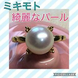 Mikimoto Auth K18yg About 8.8mm Akoya Pearl Ring Japanese 8 Used From Japan