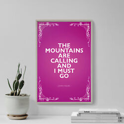 John Muir Poster The Mountains Are Calling... Photo Art Print Quote Travel