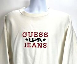Vtg 80s 90s Guess Usa Jeans Sweatshirt Crew Long Sleeve Chunky Spell Out Logo