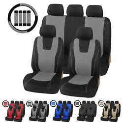 Universal Car Seat Covers For Auto Suv Van W/steering Wheel Cover And Belt Pad