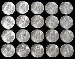 20 Coin Roll 1978 Silver Mexico Mint State 100 Peso Jose Marelos Y Pavon Coins