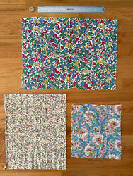 Lot Of 3 Vintage C. 1940s Cotton Floral Feedsack Fabric 13x18, 5x11, 10x9