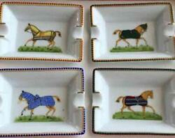 Hermes 4 Ashtray Plates Set With Box Horse Home Decor Interior New From Japan