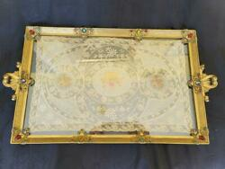 Antique Large 19 Jeweled Vanity Tray W/ Lace Insert