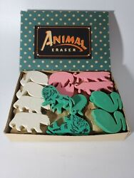 Vintage Case Of Animal Erasers 1950's/60's New Old Stock Store Display Japan