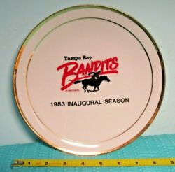 Vintage Rare 1983 Tampa Bay Bandits Collector Plate, Schedule And Signed On Back
