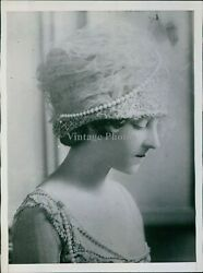 Angelic Woman Models Woven Hat Wrapped In Tule And Pearls Fashion Photo 6x8