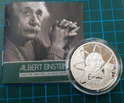 Albert Einstein 140 Years Silver Birth Medal Only 40 Pieces Proof Like Romania