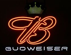 Rare Vintage Neon Budweiser Sign With Crown And Scroll B By Neon Tech 30 X 20