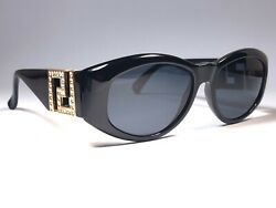 New Vintage Gianni Versace Mod T24 Black Gold 1990 's Italy Sunglasses