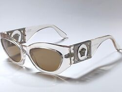 New Vintage Gianni Versace 420b Translucent Brown Lenses 1990 Italy Sunglasses