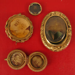 Antique Gold Filled Lot Of Photo Pins Brooches Family Photos Loved Ones Rare