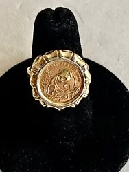 Wow-----size 6.75- Solid 14k Gold Ring And 5 Yuan 1/10 Oz 999 Fine Gold Panda Coin