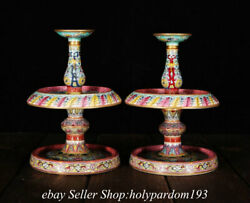 6.8 Marked Chinese Colour Enamels Porcelain Flower Candle Stick Statue Pair