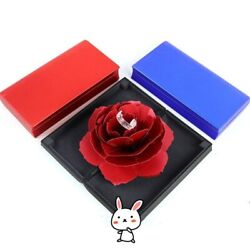 Jewelry Rings Box Pop Up Rose Wedding Engagement Storage Holder Displays Cases