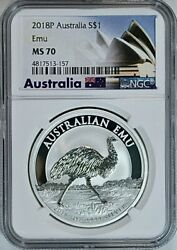 2018 P Australia Emu 1 Ounce .999 Pure Silver 1 Coin Ngc Mint State 70