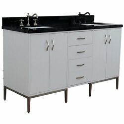 Tivoli 61 Solid Wood Double Rectangle Sink Vanity In White/black Galaxy