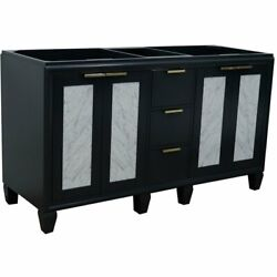 Trento 60 Modern Double Solid Wood Vanity In Dark Gray Cabinet Only
