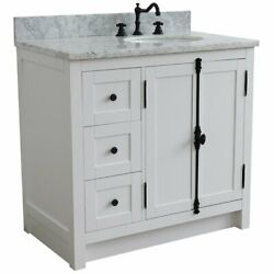 Plantation Solid Wood Vanity With Right Oval Sink In Glacier Ash/white