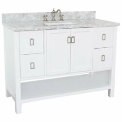 Monterey 49 Rectangle Sink Solid Wood Vanity In White/white Carrara