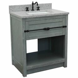 Plantation Single Rectangle Sink Solid Wood Vanity In Gray Ash