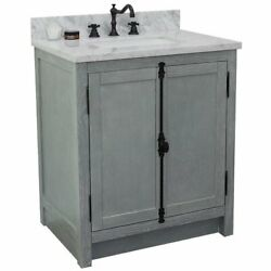 Plantation Rectangle Sink Solid Wood Vanity In Gray Ash/white Carrara