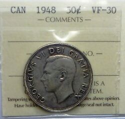 1948 Canada Fifty Cents 50 Cents Very Fine Plus