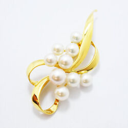 Mikimoto Auth K18 About 5.4 To 7.2mm Akoya Pearl Ribbon Brooch Used From Japan