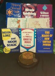 Rare 8pc Lot Of Magic Books By Al G.manning Plus Power Star And Neck Medallionandnbsp