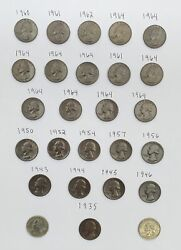 Rare 24 Missing Clad Quarters Chocolate Collection 1935-1964 Vintage Coin Lot