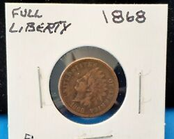1868 Indian Head Cent - Full Liberty - You Grade - In Cardboard Flip - A5