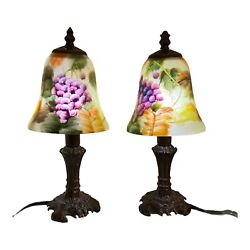 Pair Of Signed Glynda Turley 2002 Hand Painted Glass Lamp With Shade Works