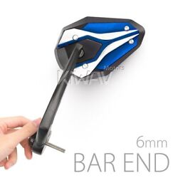 Motorcycle Bar End Mirrors Viperii Blue M6 6mm Bolt-on Only Fits Suzuki
