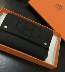 Hermes Paris Playing Card Case Gray Felt Evelyn Condition Excellent