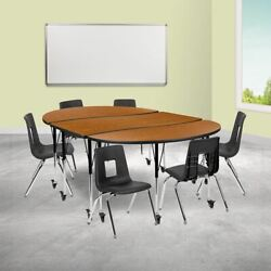 Mobile 86 Oval Wave Collaborative Laminate Activity Table Set W/16 Student Sta