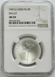 1991 L Palladium Ussr 10 Roubles Ballerina Coin Ngc Mint State 69