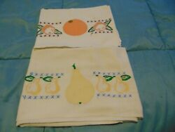 Two Vintage Hand Embroidered Fruit Dish Towels