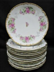 13 Antique Limoges Cabinet Plates All Different Hand Painted Gilt And Beads