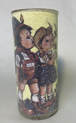 Vintage Candle Glass Pillar Sugar Frosted Hummel Girl And Boy Flowers