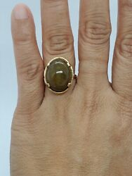 Ming's 14k Solid Gold Brown Moss Jade Oval Cabochon Ring